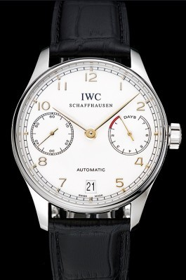 Swiss IWC Portuguese White Dial Gold Numerals Silver Case Black Leather Bracelet 1453908 Iwc Replica