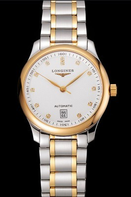 Swiss Longines Master White Dial Diamond Hour Markers Two Tone Stainless Steel Bracelet 1453930 Longines Replica Watch