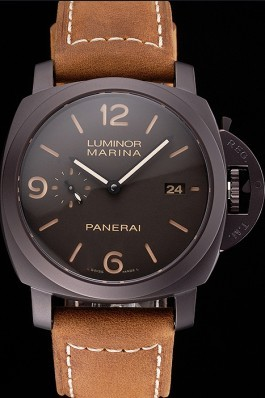 Swiss Panerai Luminor Marina 1950 3 Days Brown Dial Black Case Brown Leather Strap Panerai Luminor Replica
