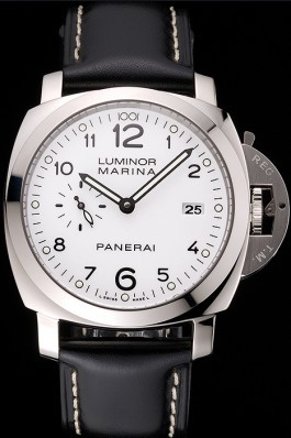 Swiss Panerai Luminor Marina 3 Days White Dial Stainless Steel Case Black Leather Strap Panerai Luminor Replica