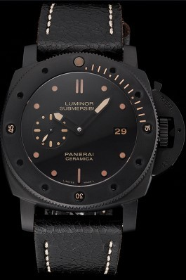 Swiss Panerai Luminor Submersible 3 Days Black Dial Black Case Black Leather Strap Panerai Luminor Replica