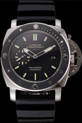 Swiss Panerai Luminor Submersible Black Dial Stainless Steel Case Black Bezel Black Rubber Strap Panerai Luminor Replica