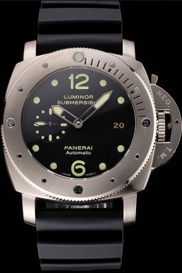 Swiss Panerai Luminor Submersible Black Dial Stainless Steel Case Black Rubber Strap Panerai Luminor Replica