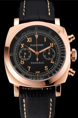 Swiss Panerai Radiomir 1940 Chronograph Black Dial Rose Gold Case Black Leather Strap Panerai Replica Watch