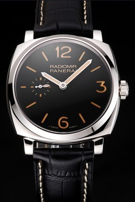 Swiss Panerai Radiomir Black Dial Stainless Steel Case Black Leather Strap  Panerai Replica Watch