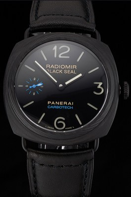 Swiss Panerai Radiomir Black Seal Carbotech Black Dial Black Case Black Leather Strap  Panerai Replica Watch