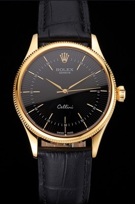 Swiss Rolex Cellini Black Dial Gold Markings Gold Case Black Leather Strap Replica Rolex