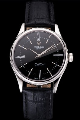 Swiss Rolex Cellini Black Dial Roman Numerals Stainless Steel Case Black Leather Strap Replica Rolex