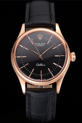 Swiss Rolex Cellini Black Dial Rose Gold Markings Rose Gold Case Black Leather Strap Replica Rolex