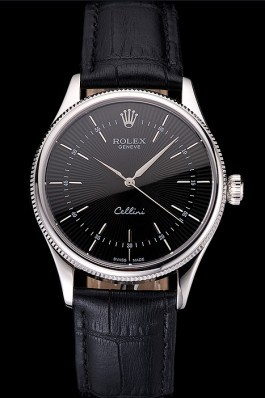 Swiss Rolex Cellini Black Dial Steel Case Black Leather Strap Replica Rolex