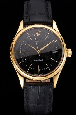 Swiss Rolex Cellini Date Black Dial Gold Case Black Leather Strap Replica Rolex