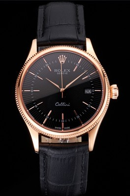 Swiss Rolex Cellini Date Black Dial Rose Gold Markings Rose Gold Case Black Leather Strap Replica Rolex