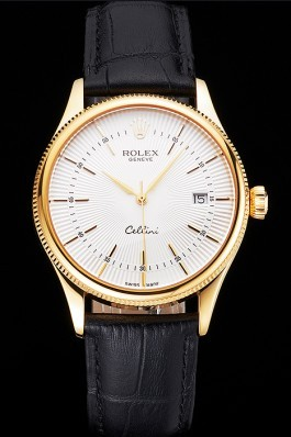 Swiss Rolex Cellini Date White Dial Gold Case Black Leather Strap Replica Rolex