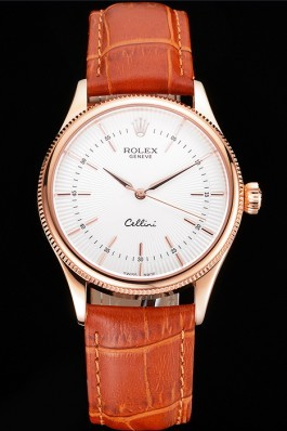 Swiss Rolex Cellini White Dial Rose Gold Case Brown Leather Strap Replica Rolex