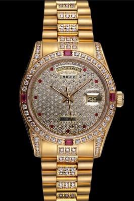 Swiss Rolex Day-Date Diamonds Yellow Gold-srl184 621614 Rolex Replica Aaa
