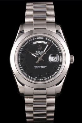 Swiss Rolex Daydate Stainless Steel Bracelet Black Dial 80294 Rolex Replica Aaa
