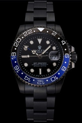 Swiss Rolex GMT Master II Black Dial Blue And Black Bezel Black PVD Case And Bracelet Rolex Replica Gmt