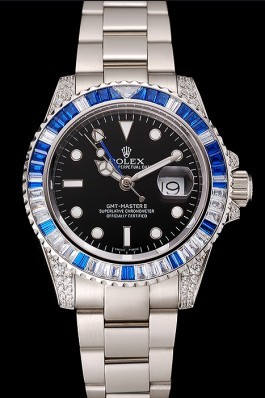 Swiss Rolex GMT Master II Black Dial Stone Set Bezel Stainless Steel Case And Bracelet 1453747 Rolex Replica Gmt