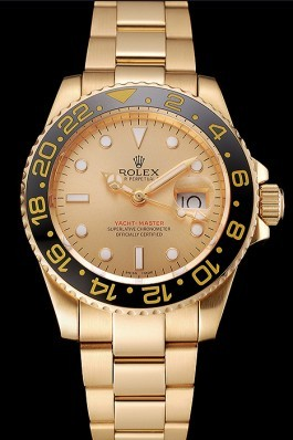 Swiss Rolex GMT Master II Gold Dial Black Bezel Gold Case And Bracelet 1453749 Rolex Replica Gmt