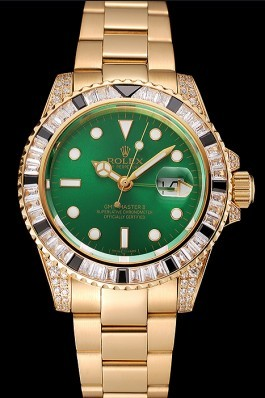 Swiss Rolex GMT Master II Green Dial Stone Set Bezel Gold Case And Bracelet 1453748 Rolex Replica Gmt