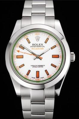 Swiss Rolex Milgauss White Dial Orange Markings Stainless Steel Case And Bracelet Luxury Watch Replica