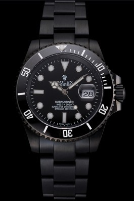 Swiss Rolex Submariner Date Black Dial And Bezel Black PVD Case And Bracelet Rolex Submariner Replica