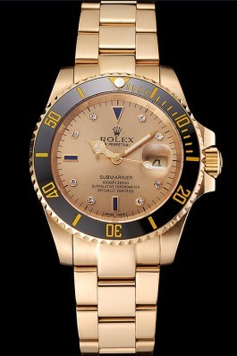 Swiss Rolex Submariner Gold Dial With Diamond Markings Black Bezel Yellow Gold Case And Bracelet Rolex Submariner Replica