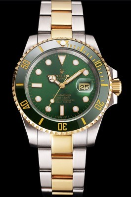 Swiss Rolex Submariner Green Dial And Bezel Two Tone Steel Gold Bracelet Rolex Submariner Replica