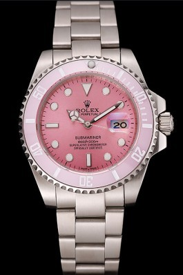Swiss Rolex Submariner Pink Dial Pink Bezel Stainless Steel Bracelet 1453980 Rolex Submariner Replica