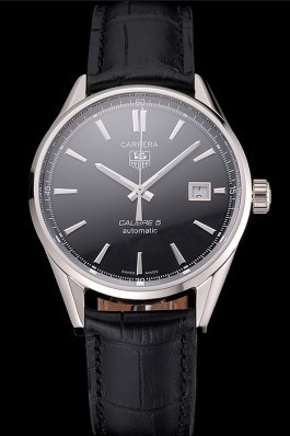 Swiss Tag Heuer Carrera Calibre 5 Black Dial Stainless Steel Case Black Leather Strap  Tag Heuer Replica