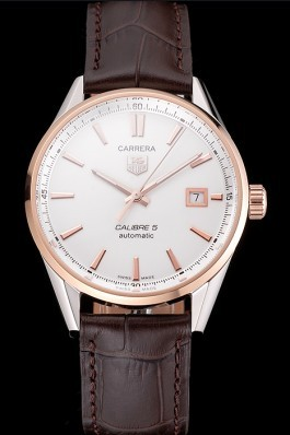 Swiss Tag Heuer Carrera Calibre 5 White Dial Rose Gold Case Brown Leather Strap Tag Heuer Replica