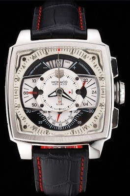 Tag Heuer Monaco Black Perforated Leather Strap White Dial 80306 Perfect Tag Heuer Replica