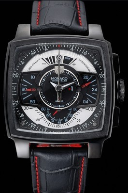 Tag Heuer Monaco Black-Red Perforated Leather Strap Black Dial 80309 Perfect Tag Heuer Replica