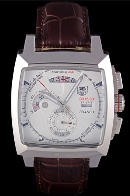 Tag Heuer Monaco Brushed Stainless Steel Case White Dial Brown Leather Strap 98173 Perfect Tag Heuer Replica