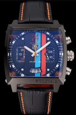 Tag Heuer Monaco Calibre 36 Blue And Orange Stripes Dial Black Leather Strap 622302 Perfect Tag Heuer Replica