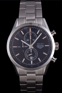 Tag Heuer SLR Polished Stainless Steel Case Black Dial Stainless Steel Strap Aaa Tag Heuer Replica