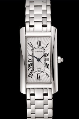 Cartier Tank Americaine 21mm White Dial Stainless Steel Case And Bracelet Cartier Replica